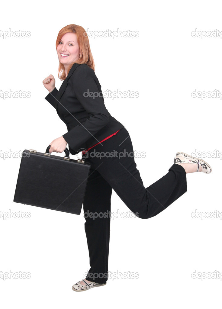 One young adult red haired business lady in black and red over white with briefcase — Stock Photo #2043418