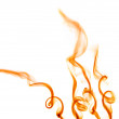Orange spirals of smoke on white - Stock Photo
