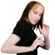 Female martial artist ready pose — Stock Photo