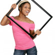 Framed woman in pink — Stock Photo