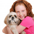 Girl and dog over white — Stock Photo #2175707