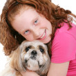 Girl and dog over white — Stock Photo