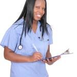 Female doctor over white — Stock Photo