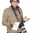Photojournalist guy with notebook — Stock Photo