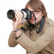 Photojournalist guy with camera — Stock Photo