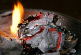 Burned paper and fire — Stock Photo