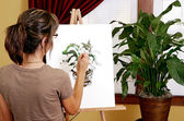 Painting a plant — Stock Photo