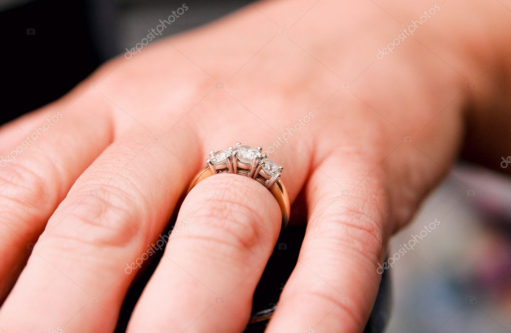 Engagement ring on a woman's hand close up  Stock Photo #2298499