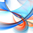 Blue swoop fractal over white - Stock Photo