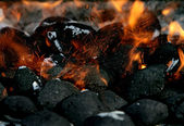 Charcoal on fire — Stock Photo