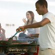 Guy cooking bbq — Stock Photo