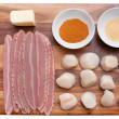 Bacon wrap scallops - Stock Photo