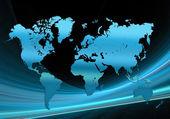 Blue world map tech — Stock Photo