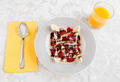 Breakfast banana split — Stock Photo