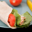 Turkey wrap and veggies — Stock Photo