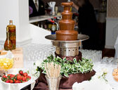 Chocolate fountain spread — Stock Photo