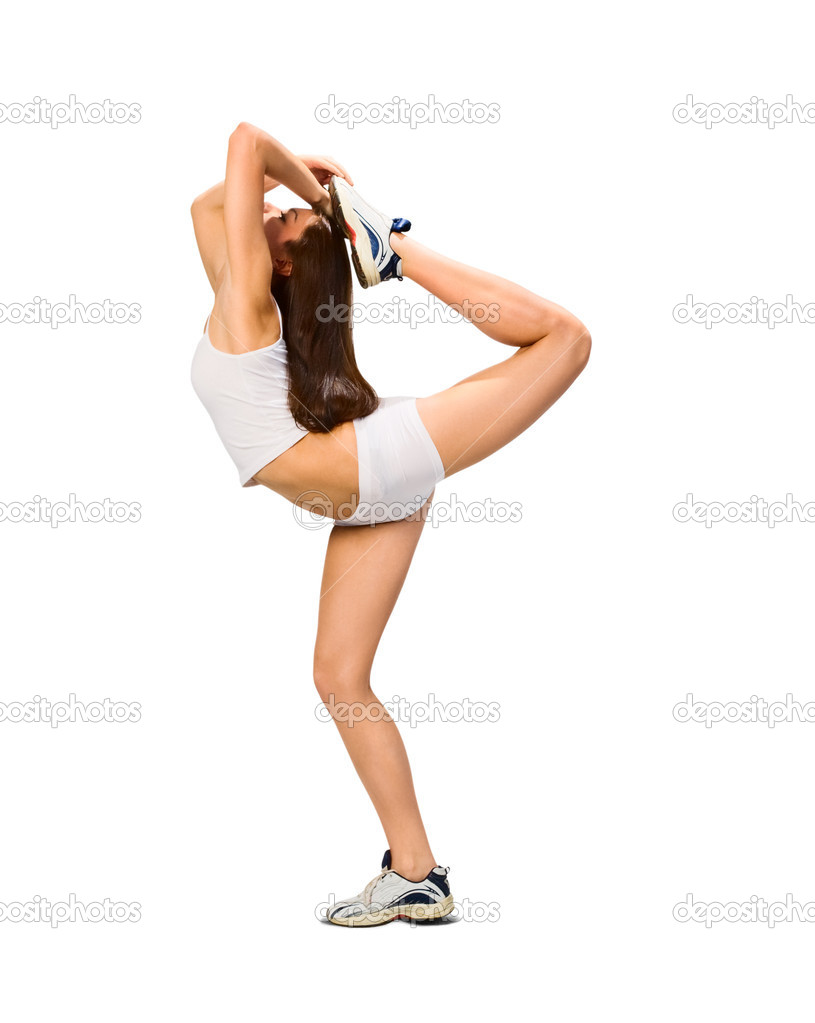 Young woman is doing some stretching exercises — Stock Photo #1897722