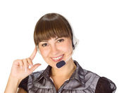 Friendly helpdesk girl — Stock Photo