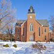 Old chapel on a college campus in winter — Stock Photo