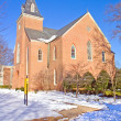 Chapel on a college campus in winter — Stock Photo
