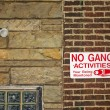 No gang activities sign — Stock Photo