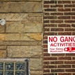 No gang activities sign - Stock Photo