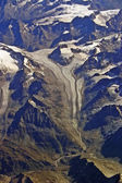Aerial view of a glacier in the Alps — Stock Photo