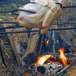 Turkeys roasting over an open fire — Stock Photo