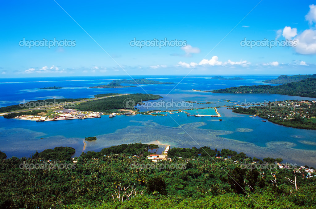The runway of Pohnpei International Airport near the capital city of Kolonia, Federated States of Micronesia, viewed from Sokeh's Island — Stock Photo #2663575