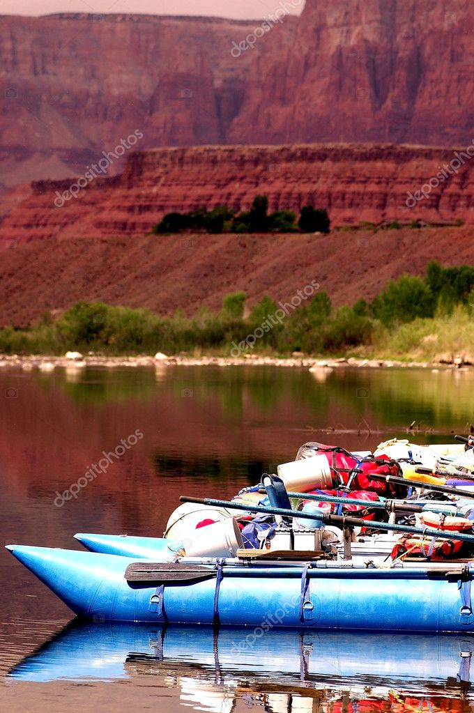 Rafts ready for Grand Canyon float trip on the Colorado River  Stock Photo #1909909
