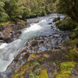 Rapid Mountain River with rock — Stock Photo