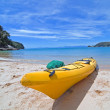 Kayak on the beautiful beach - Stock Photo