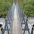 Hanging bridge and mountain river — Stock Photo