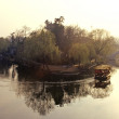 Stock Photo: Picturesque, Chinese boat on calm river