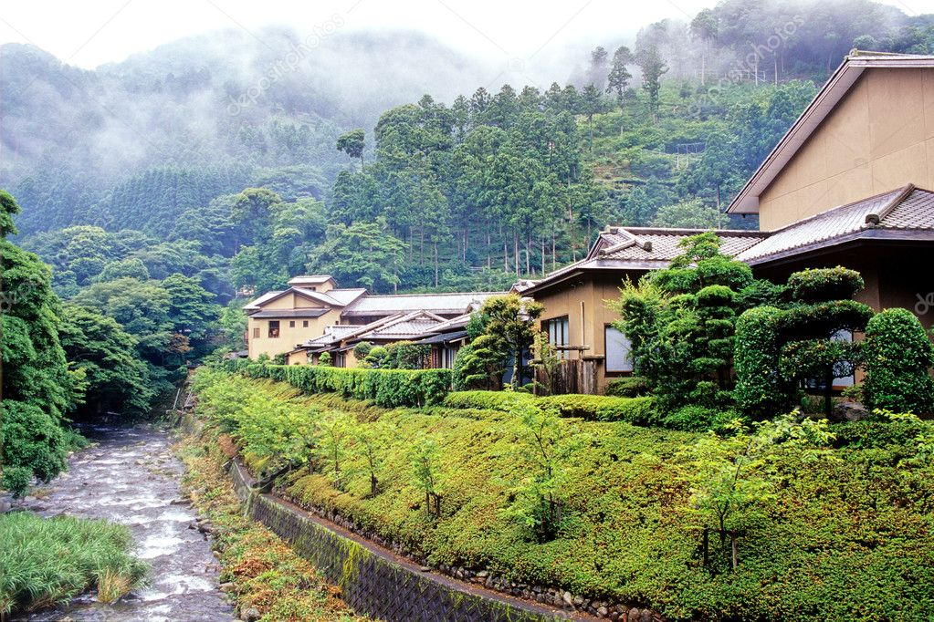 Beautiful landscape with  mountain river and village in Japan  Stock Photo #2564254