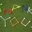 Golf tee thank you - Stock Photo