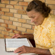 Elderly woman studying her Bible — Stock Photo