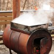 Boiling down the sap — Stock Photo