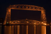 Duluth late night aerial lift bridge — Stock Photo