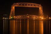 Late night Duluth aerial bridge — Stock Photo