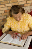 Elderly woman reading her Bible — Stock Photo