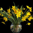 Bouquet of yellow tulips in a glass vase — Stock Photo #2514257