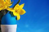 Blue easter egg and yellow tulips — Stock Photo