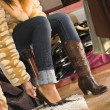 Woman trying on new shoes — Stock Photo