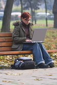 Outdoor computer work — Stock Photo