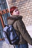 Redheaded girl student — Stock Photo