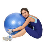 Hugging the gym ball — Stockfoto