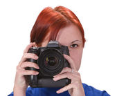 Teen girl photographer — Stock Photo