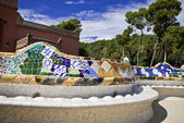 Seat bench in park guell — Stock Photo