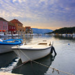 Quay of mediterranean town Starji Grad - Stock Photo